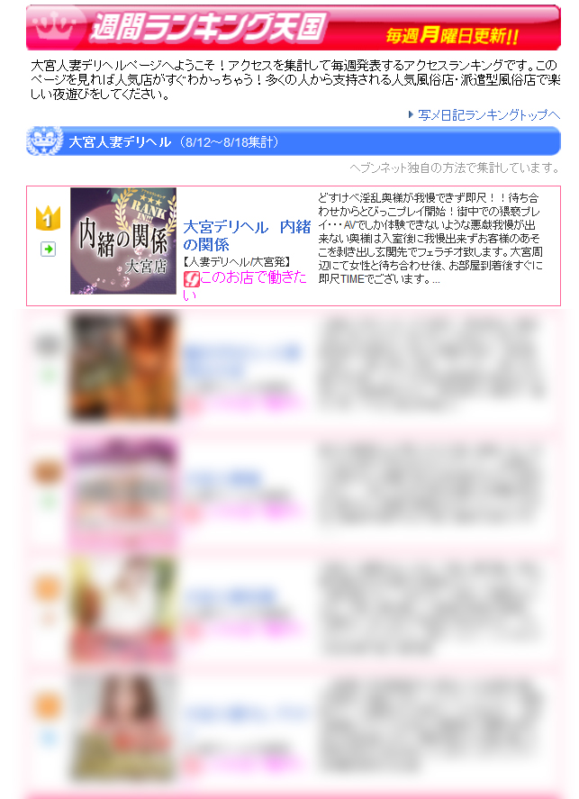 大宮人妻デリヘルお店ランキング2016-08-22