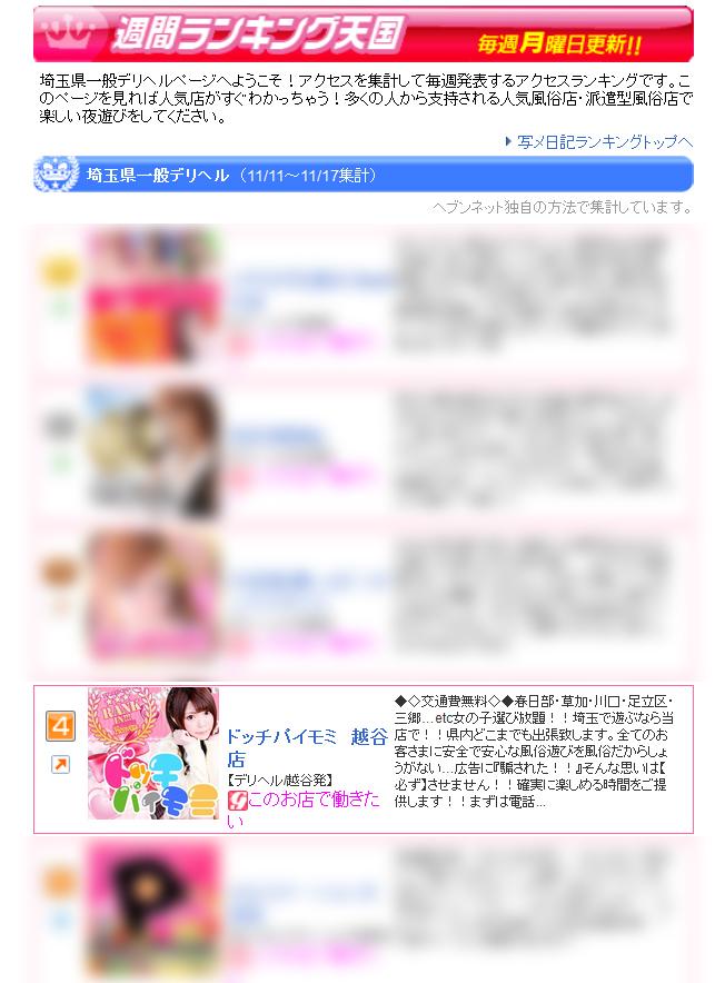 埼玉県一般デリヘルお店ランキング2016-11-21