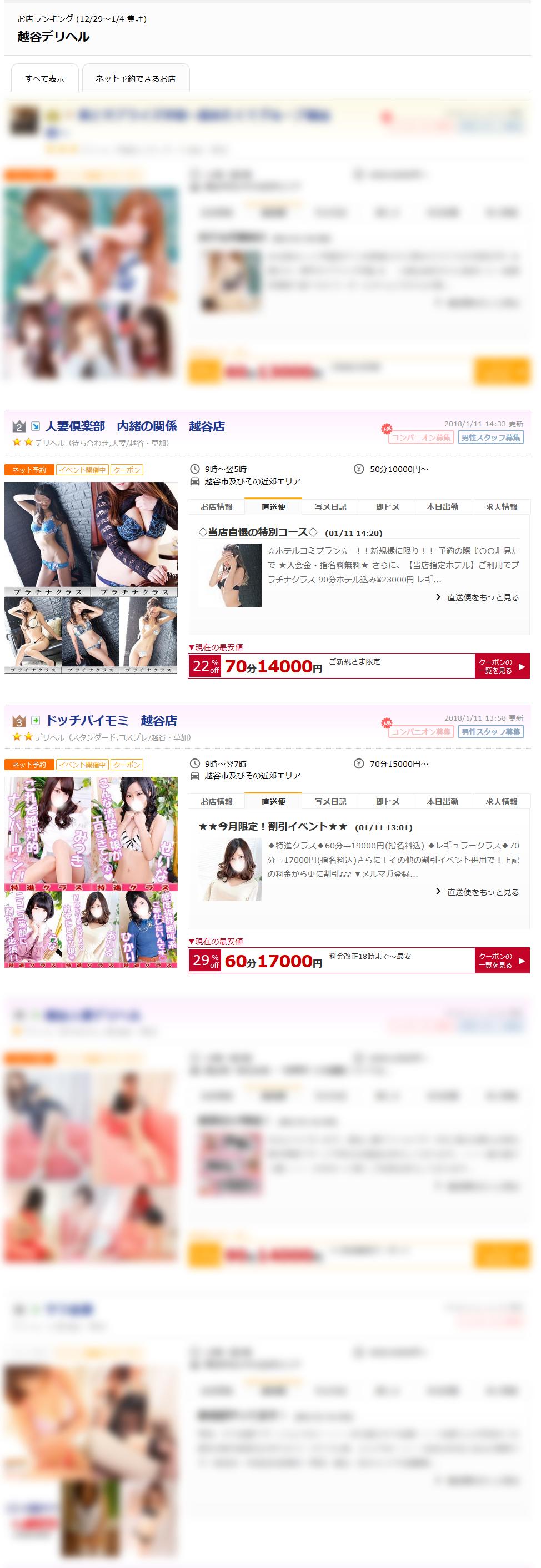 越谷デリヘルお店ランキング2018-01-08