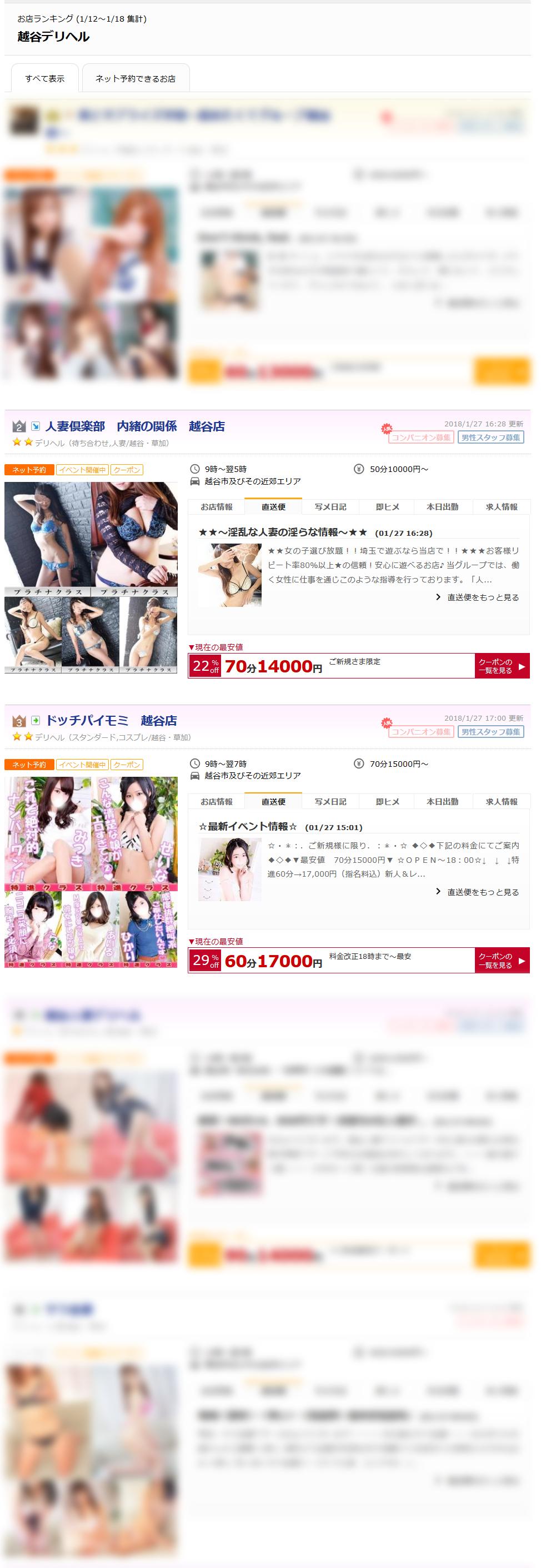 越谷デリヘルお店ランキング2018-01-22