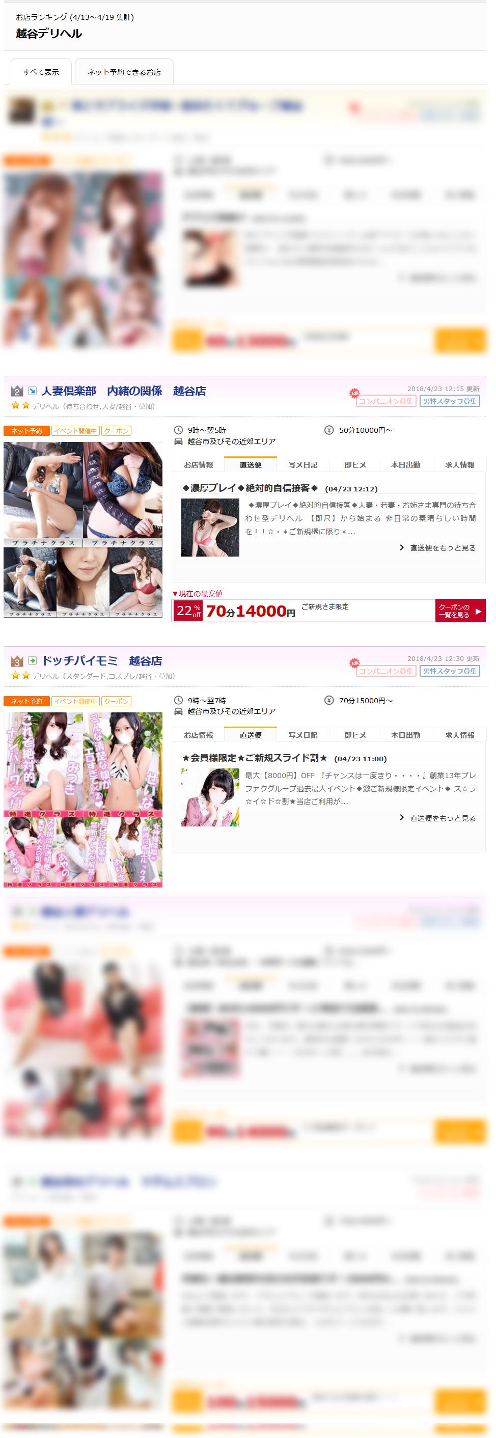 越谷デリヘルお店ランキング2018-04-23